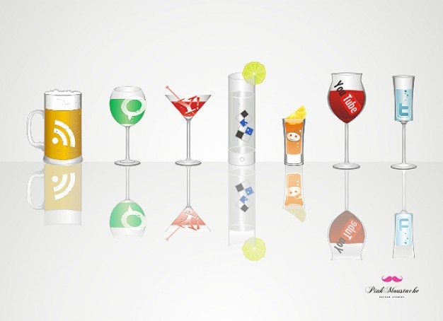 Drinks social icon set vector objects