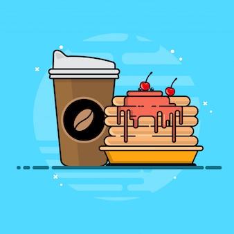 Drinks soda with pancake icon illustration.