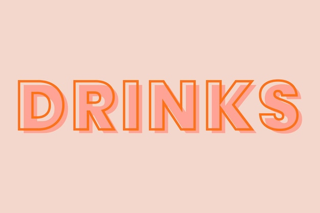 Drinks typography on a pastel peach background