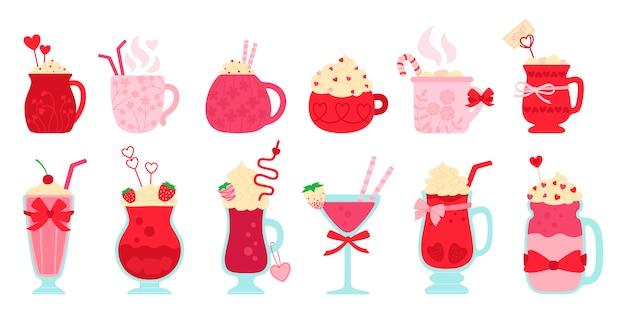 Напитки день святого валентина плоский набор. мультфильм коктейль, напитки горячие и свежие. симпатичные кружки какао, кофе, молоко, сливки алкогольные для меню. партии напитки украшены конфетами, сердечками. изолированная иллюстрация