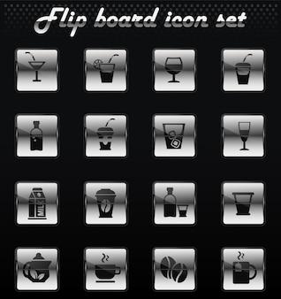 Drinks vector flip mechanical icons for user interface design