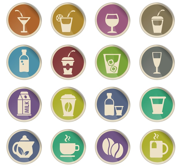 Drinks web icons in the form of round paper labels