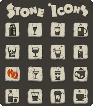 Drinks web icons on stone blocks in the stone age style for user interface design