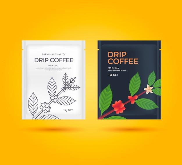 Дизайн упаковки для кофе drip. векторный шаблон пакета. иллюстрация стиля линии кофейная ветвь.
