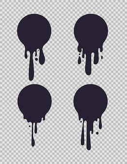 Dripping black circles. inked round liquid shapes with paint drips for milk or chocolate logo vector set