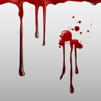 Dripping blood and set of different gore splashes, drops and trail on white background