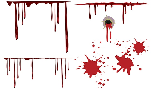 Dripping blood set on white background
