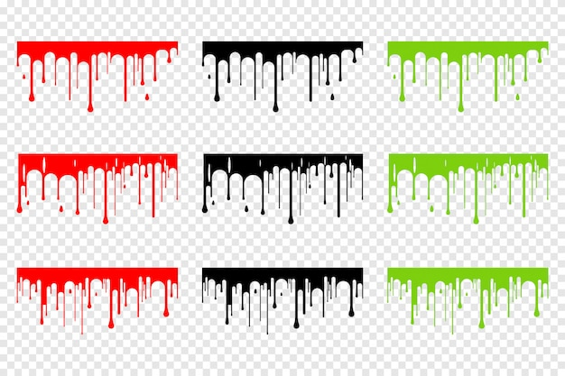 Dripping blood, slime and black silhouette set isolated