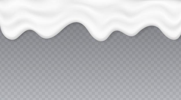 Капающая сливочная жидкость, всплеск йогурта или растопленного мороженого, белый кремовый поток, изолированные на прозрачном фоне.