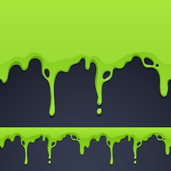 Dripping green paint or slime texture seamless horizontal border