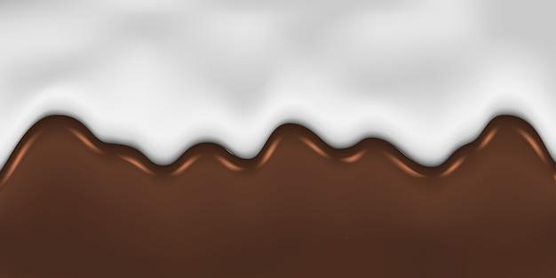 溶けたチョコレートとミルクの背景を滴下