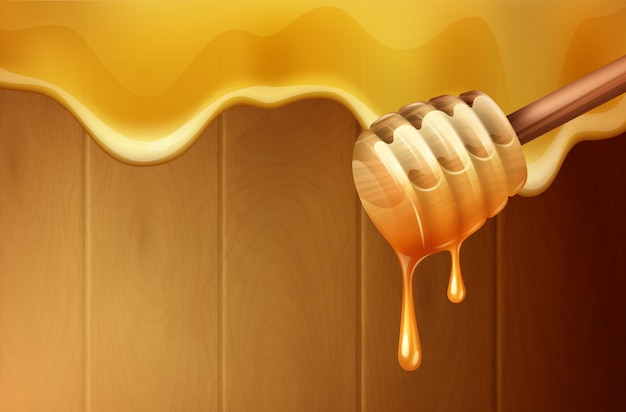 Dripping melting honey drops background with honey dipper realistic illustration