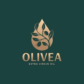 滴るオリーブの枝の油のロゴのテンプレート
