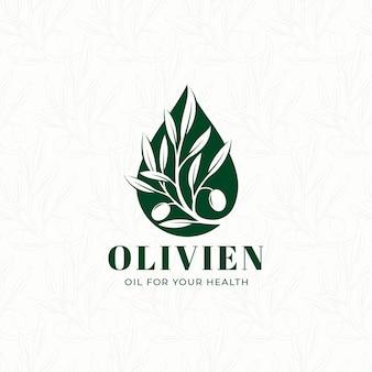 Шаблон логотипа капающего оливкового масла