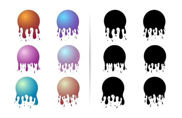 Dripping spheres with silhouettes isolated on white background