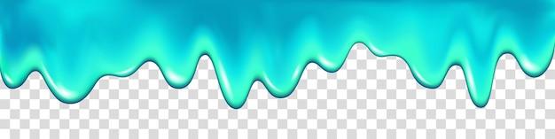 Капающая вода, изолированные на прозрачном фоне. синяя краска. слизь. капельный реалистичный фон вектор.