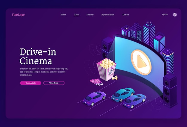 Drive-in cinema landing page