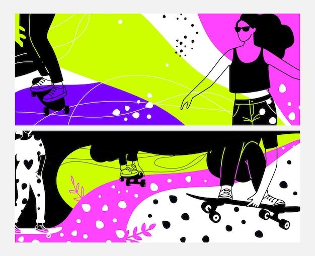 女の子を運転する。スケートボード、ロングボードのネオンバナーのティーンエイジャー。女性のスポーツシルエットベクトルセットと装飾的な空白のヘッダーテンプレート