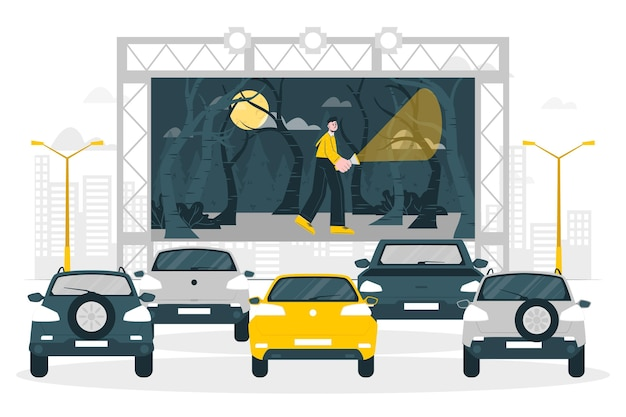 Иллюстрация концепции кинотеатра drive-in