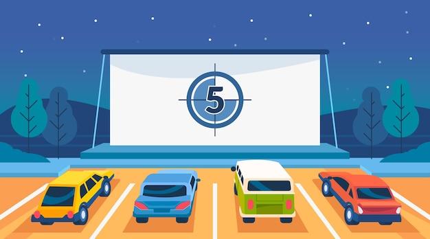 Иллюстрация кинотеатра drive-in