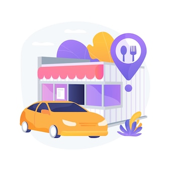 ドライブインレストラン抽象的な概念ベクトルイラスト。ドライブスルーカフェ、ウイルスに安全なドライブインサービス、社会的に孤立した施設、非接触のピックアップ、注文の抽象的な比喩を取り上げます。