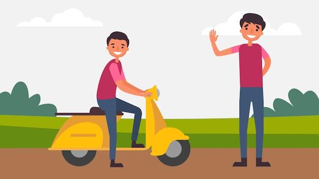 Ездить на мотоцикле отец сын развлечения идеальное семейное общение проводят время вместе. дети важны для их роста и развития, а также для человека. иллюстрация в плоском мультфильме.