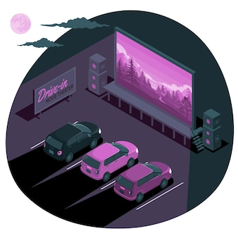 Drive-in movie theater concept illustration