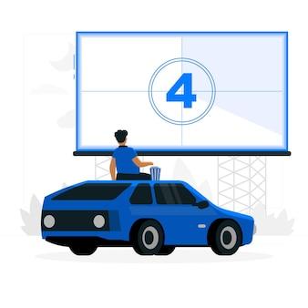 Illustrazione di concetto di cinema drive-in