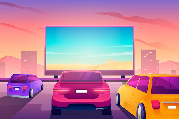 Drive-in movie theater concept Free Vector