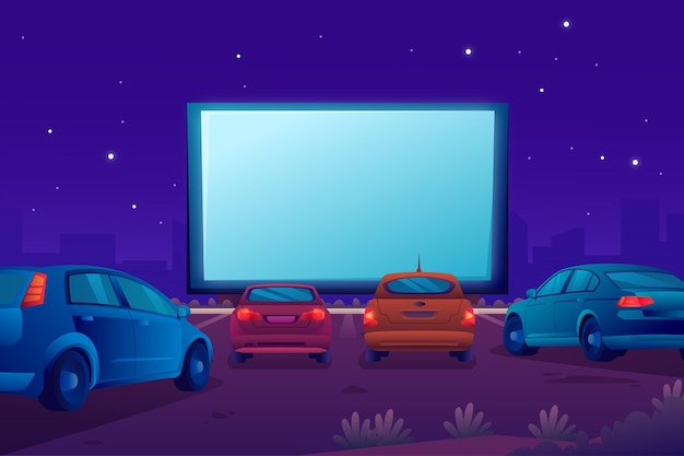 Concetto di cinema drive-in