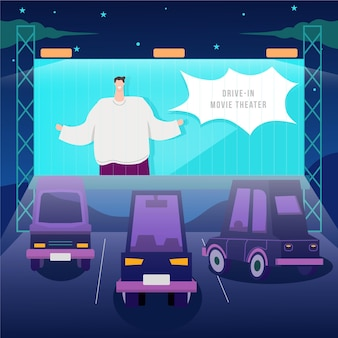 Drive-in movie theater event Free Vector