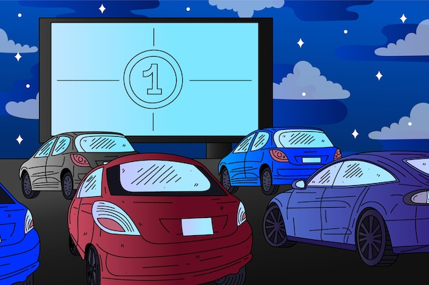 Drive-in movie theater hand drawn design