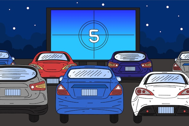 Drive-in movie theater hand drawn style Free Vector