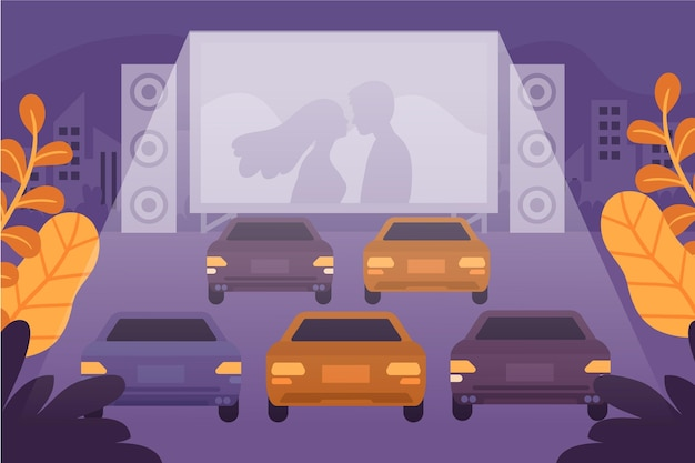 Drive-in movie theater illustration