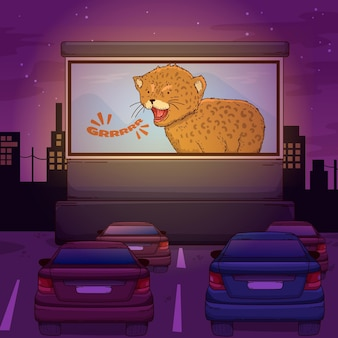 Illustrazione del cinema drive-in
