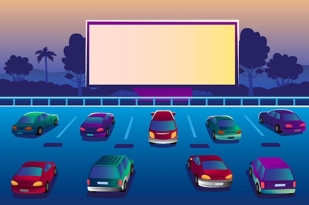 Drive-in movie theater in parking lot