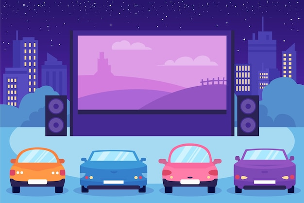 Drive-in movie theater with big screen