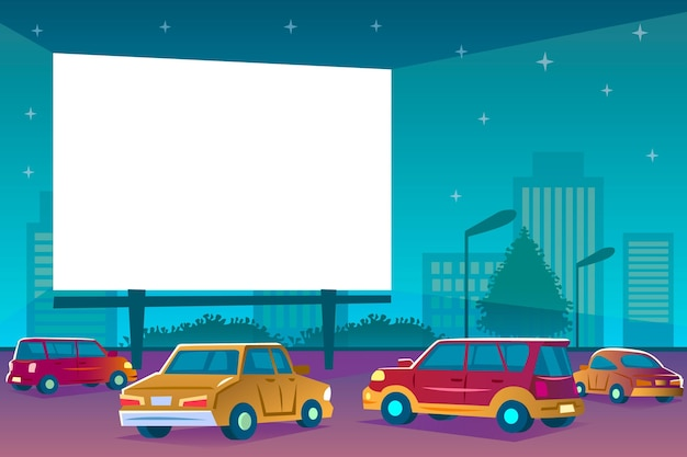 Drive-in movie theater with cars