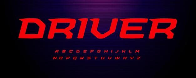 Drive sport font wide italic letter with modern spurs fast speed effect alphabet for energy motion