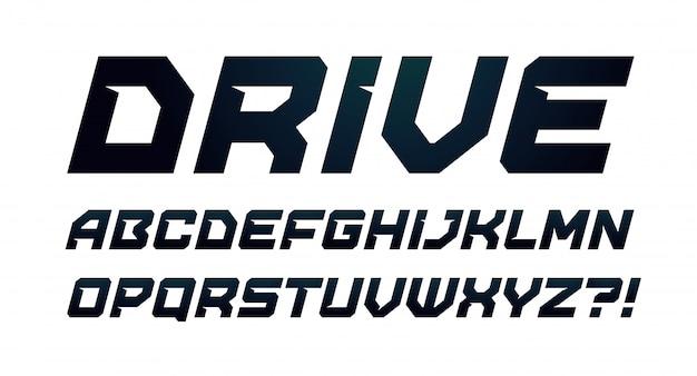 드라이브 스타일 알파벳. 굵은 기울임 꼴 글꼴, 미니멀 한 유형