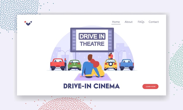 Drive-in theater landing page template. couple at car cinema romantic dating, automobiles stand in open air city parking. loving man and woman sit on auto roof watch movie. cartoon vector illustration Premium Vector