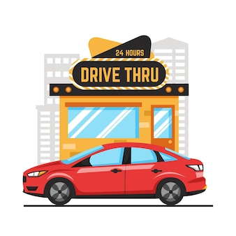 Drive thru sign illustrated
