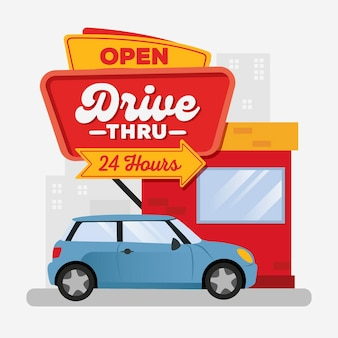 Drive thru sign illustration with car