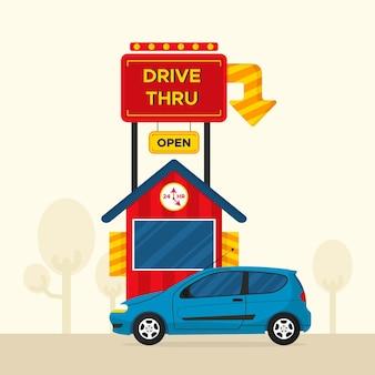 Guidare attraverso il segno con l'auto e aprire