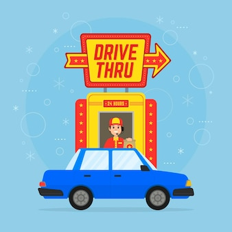 Drive thru sign with car and person