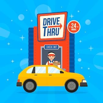 Drive thru sign with car