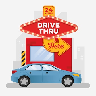 Drive thru sign with car