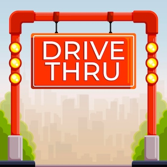 Drive thru sign with lights