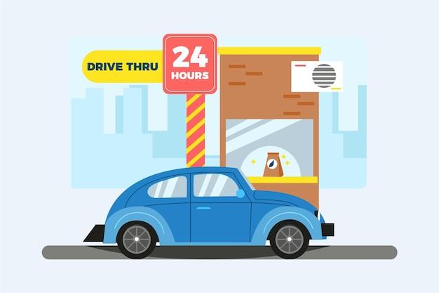 食べ物の窓からドライブ