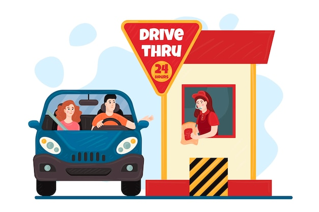 Drive thru window illustration with automobile